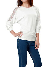 Allegra K Women Floral Lace Panel Back Round Neck Stretchy Casual Shirt