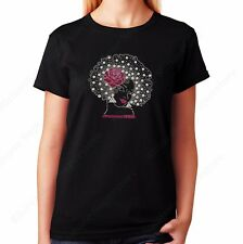 "Women's / Unisex Rhinestone T-shirt "" Pink Flower Afro Girl "" in Small - 3XL"