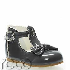 Baby Girls Dark Grey Shoes, T-bar Shoes, Little Girls Shoes, Girls Party Shoes