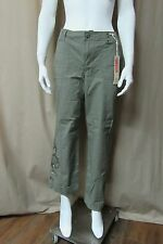 NEW Khaki & Co CONVERTIBLE EMBROIDERED Leg PANTS CAPRIS Cropped OLIVE size 6