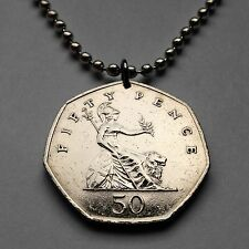Great Britain 50 Pence coin pendant English Lion necklace crown British n000193
