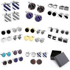 Men's Stainless Steel Cuff Clasp Cufflink Business Wedding Jewelry Gift Set +Box