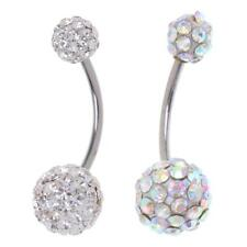 Bling Rhinestone Ball Navel Belly Button Ring Stainless Steel Body Piercing