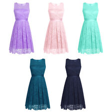 Womens Bridesmaid Dress Vintage Floral Lace Party Prom Evening Cocktail Gown