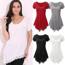 AU STOCK Summer Womens V Neck Short Sleeve Blouse Lace Tunic T Shirt Casual Top