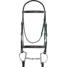ENGLISH SADDLE HORSE FANCY STITCHED RAISED BRIDLE DARK BROWN HORSE OR COBB SIZE