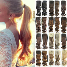 Ladies Women Drawstring Ponytail Clip in Hair Extensions Straight Curly Blonde H