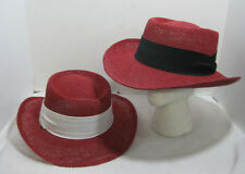 Straw Gambler Hat Red Fedora With Linen Band Western Cuban Choose Your Color NEW