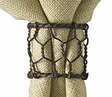 Chicken Wire Napkin Rings by Park Designs, Prim Country Style, Rustic, Pick Set