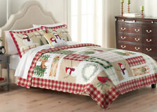 3 pc- Holiday Winter Outdoors Patchwork Reversible QUILT + SHAMS Deer Birds Tree