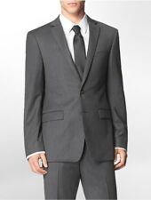 calvin klein mens body slim fit grey + blue pinstripe suit jacket