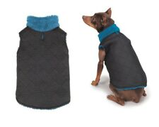 ThermaPet Quilted Dog Vest Blue & Black Stylish Sporty Lined All Weather Sweater