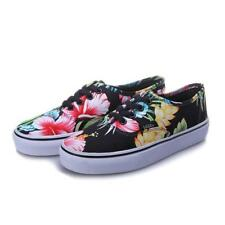 VANS Colorful Hawaiian Hibiscus Floral Black Canvas Lace-up Shoes Unisex NWT