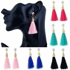 Fashion Boho Crystal Rhinestone Long Tassel Drop Dangle Hook Earrings Women Gift