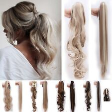 Thick Clip In Ponytail Pony Tail Hair Extension Wavy Straight Claw On Fake Hair