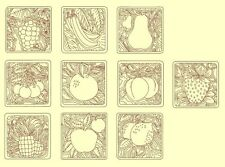Fruit Redwork & Trapunto Machine Embroidery CD-30 Designs- By Anemone Embroidery
