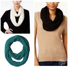 Steve Madden Solid Fishnet Infinity Scarf Black Ivory Teal Green 28x18 A1