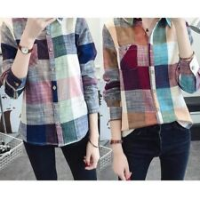 Womens Long Sleeve Plaid Blouse Shirt Tops Casual Tunic Button T-Shirt Top