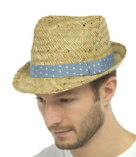 Mens Straw Fedora Trilby Panama Style Summer Sun Hat With Spot Outer Band
