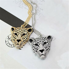 Necklace Leopard Head Crystal Bling Diamond Sweater Chain Queen 1 Pcs Jewelry