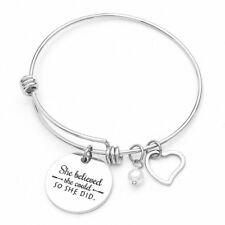 Charm Stainless Steel  Pearl Heart Round Bangle Bracelet Adjustable Jewelry Gift