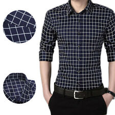 1Pcs Casual shirt Long sleeves Solid color Men's Shirts plaid shirt