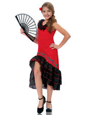 Senorita Dancer Girls Child Spanish Flamenco Performer Dancer Costume