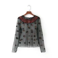 Womens Sequins Embroidery T-shirt Sexy Transparent Long Sleeve Tops Blouse SML