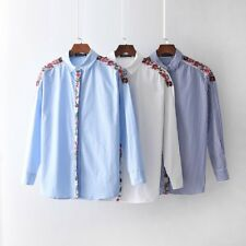 Womens Embroidery Floral Long Sleeve Button Down Shirt Blouse SML