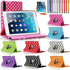 For Apple iPad Mini 1 / 2 / 3 360 Rotating Polka Dot Leather Case Cover Stand ##