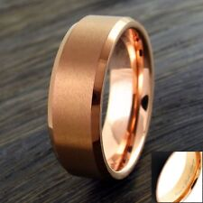Engraved 6/8mm Coffee Tone Brushed Tungsten Ring Rose Gold Inside Wedding Band