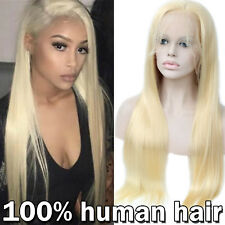 Hot Remy Human Hair Wig Straight Wavy Lace Front Wig Free Part Bleach Blonde B01