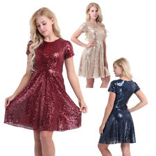 Sexy Women's Lady Sequin Cocktail Party Bridesmaid A-Line Formal Dress Clubwear