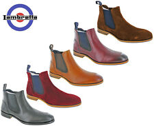 Lambretta Chelsea Boots Twin Gusset Mens Leather Suede Moorgate Ankle Pull On