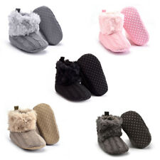 Baby Infants Winter Autumn Warm Knitted Soft Fur Thicken Solid Crib Shoes Boot