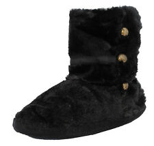 Womens Ladies Fluffy Plush Fur Boots Bootie Slippers Black Size 3 4 5 6 7 8