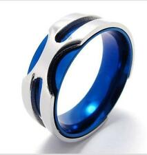 Stainless Steel Silver Blue Cool Mens Ring Size 8 9 10 11 R293