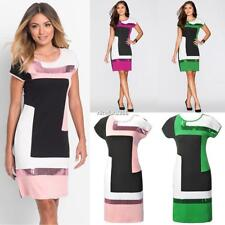 New Fashion Women Casual O-Neck Short Sleeve Patchwork Sequins Package N4U8