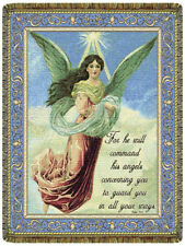 Psalm 91:11 North American Made Religious Angel Woven Tapestry Throw Blanket