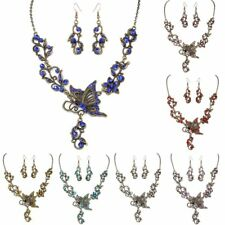 Retro Crystal Rhinestone Butterfly Pendant Necklace Earrings Wedding Jewelry Set