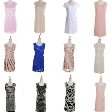 Womens Vintage Lace Boat Neck Formal Wedding Cocktail Evening Party Swing Dress
