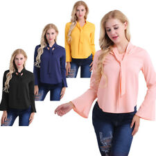 Fashion Womens Long Sleeve Tie-bow V Neck Flare Blouse Tops Casual T-Shirt Shirt