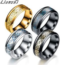 Lianzhi 8MM Silvering Celtic Dragon Stainless steel Ring Mens Jewelry men's/XHS