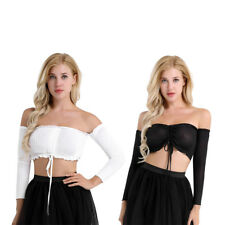 Women Long Sleeve Elastic Off Shoulder Crop Tops Summer Top Blouse T-shirt AU
