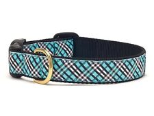 Dog Puppy Design Collar - Up Country - Made In USA - Aqua Blue Plaid - Any Size
