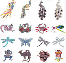 Fashion Silver Purple Crystal Rhinestone Peacock Dragonfly Animals Pin Brooch