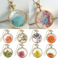 Gold Rose Natural Real Dried Flower Round Glass Pendant Necklace Jewelry Gift