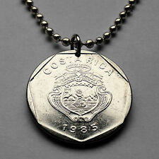 Costa Rica 5 colones coin pendant Costarricense necklace ships volcanoes n001691