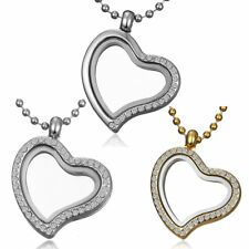 Heart Crystal Living Memory Floating Locket Charms Glass Necklace Pendant Chain
