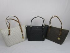 NWT MICHAEL KORS MK SIGNATURE PVC JET SET EW TOP ZIP TOTE BAG Various Colors